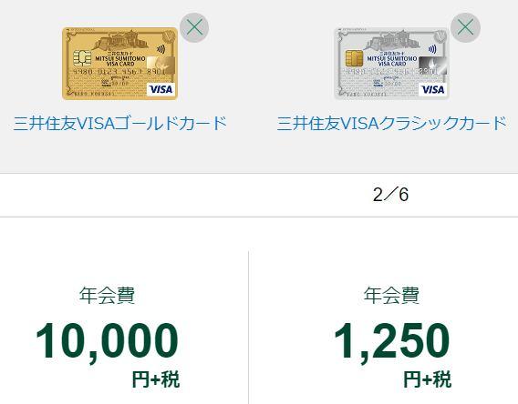 三井住友VISA年会費の比較