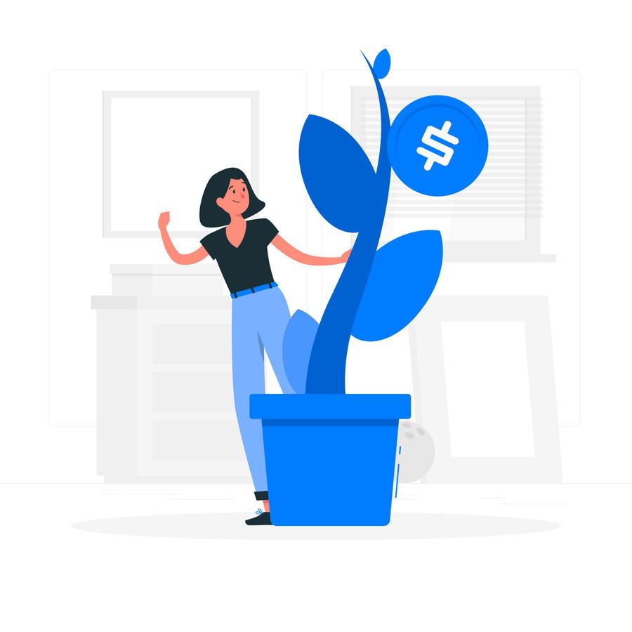 お金のなる木を育てる女性
