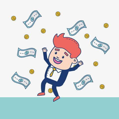 舞うお金と喜ぶ人